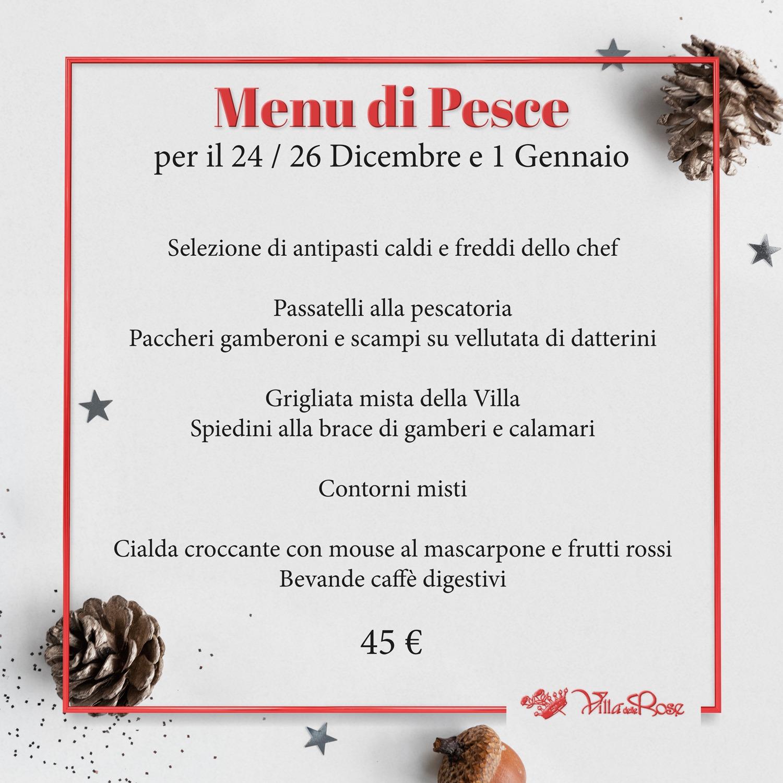 menu di pesce ristorante villa delle rose